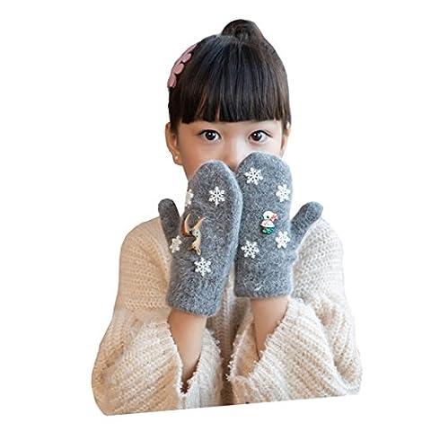 Butterme Children Kids Girls Boys Winter Warm Double Layer Knitted Full Finger Gloves Cartoon Snowflake Santa Claus Reindeer Pattern Christmas Gloves (Deep Grey)