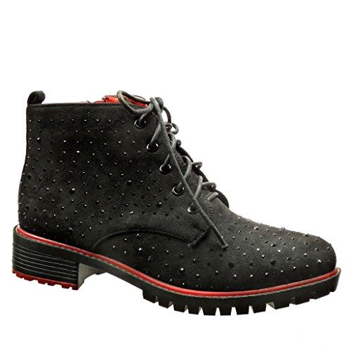 Angkorly - damen Schuhe Stiefeletten Derby-Schuh - Desert Boots - Strass - Spitze Blockabsatz 3.5 CM Schwarz