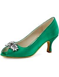 ElegantPark HP1540 Mujer Peep Toe Rhinestones Saten Pupms Mid Tacon Leaves Clips Hebilla boda Novia zapatos?