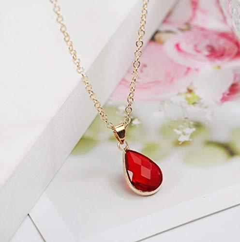 KLKL Mode wassertropfen kristall anhänger Halskette blau rot rosa Farbe einfache Elegante Halskette für Frauen
