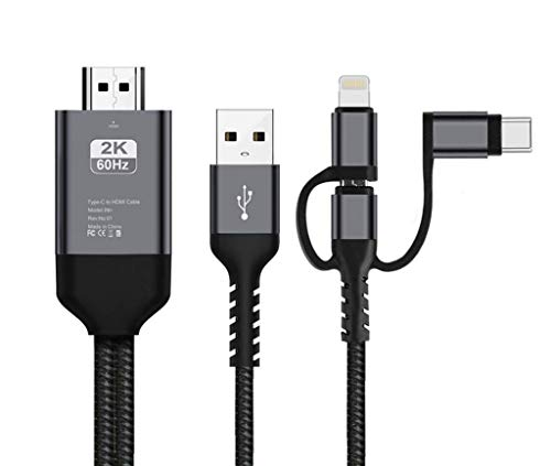 i-Tronixs 3 in 1 HDMI-Adapterkabel, Lighting/Typ-C/Micro USB auf HDMI-Kabel, Digitaler Audio-Spiegel, Handy-Display auf TV-Projektor, Monitor für BQ Tesla 2 W8 (Silber)