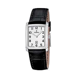 Festina - F16513-1 - Montre Femme - Quartz Analogique - Cadran Blanc - Bracelet Cuir Noir