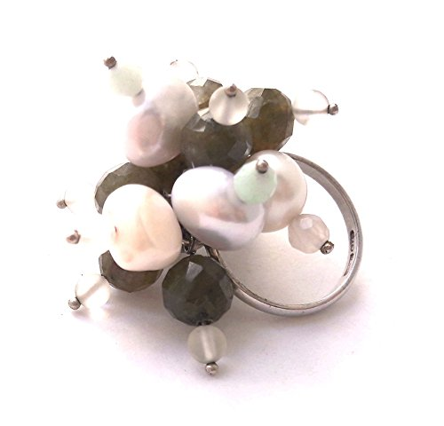 Anello con perle coltivate acqua dolce, quarzo bianco, labradorite e amazzonite