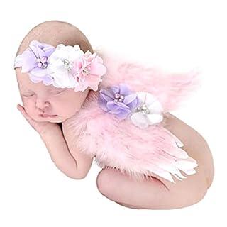 Amcool Baby Neugeborene Engel Feder Flügel Perle Haarband Satz Fotografie Requisiten Rosa 0-6 Monate