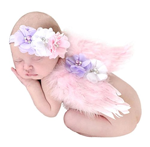 Amcool Baby Neugeborene Engel Feder Flügel Perle Haarband Satz Fotografie Requisiten Rosa 0-6 Monate (Engel Flügel Für Baby)