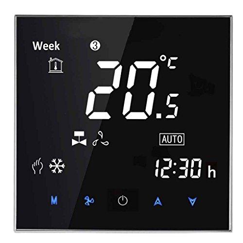 Klimaanlage Temperaturregler Spiegel Gesicht Timing-Programmierbare 2 Rohr Thermostat LCD-Touch Screen Mengonee