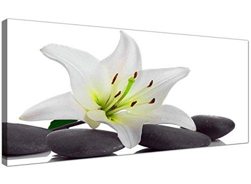 Lienzo de pared grande de Wallfillers®, con impresión de lirio blanco y piedras grises, para decoración de pared, Modern Floral Wall Art 1024