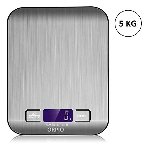 ORPIO (LABEL) Stainless Steel Digital Electronic Kitchen Weight Scale Digital Multifunction Food Scale Cooking Measure Tools Scale, 5KG 11 LB