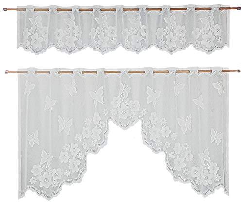 Ilkadim - tende da cucina, 2 pezzi, dimensioni: 35 x 150 cm (esterno), 65 x 150 cm, colore: bianco weiß schmetterling