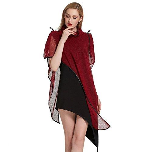 Vertvie Damen Kleider Ponchos mit Fledermausärmel Elegant Asymmetrisch  Strandkleid Zweiteiler Mädchen Lose Tops Sommerkleider Rot