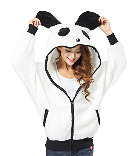 DELEY Femmes Filles Hiver Casual Chaud Panda Mignon Animal Molleton Zip Cosplay Hoodie Hoody Sweat-Shirt À Capuche Outwear Taille M