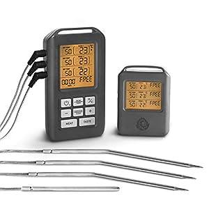 BURNHARD Termómetro Digital Inalámbrico para Cocina Horno Barbacoa 3 Sensores Sondas, Temporizador de Cocina con Alarma…