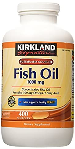 Kirkland Signature Natural Fish Oil Concentrate With Omega-3 Fatty Acids, 400 Softgels, 1000Mg by