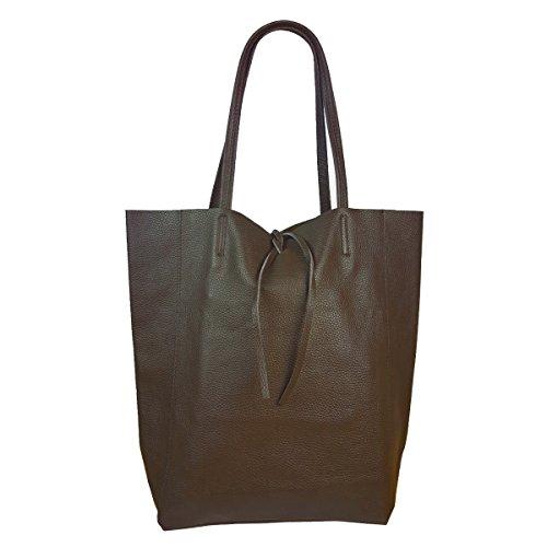Damen Echtleder Shopper mit Innentasche in vielen Farben Schultertasche Henkeltasche Metallic look Schlamm