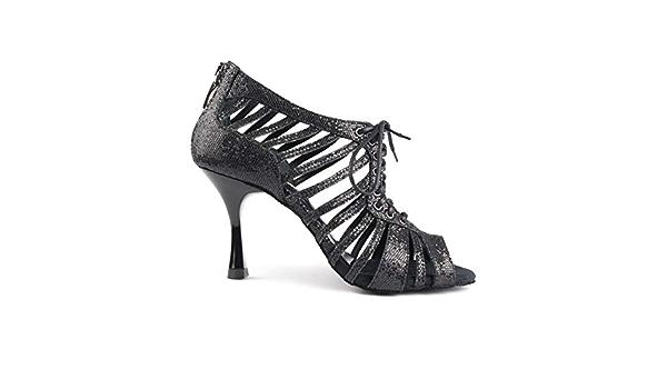 Fabriqu/é au Portugal 7 cm Flare PortDance Salsa Tango PD505 Chaussures de danse pour femme Noir//rouge Talon petit