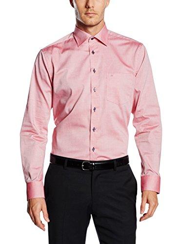 Seidensticker Herren Langarm Hemd Splendesto Regular Fit Kent Club Bartack rot strukturiert mit Patch 389469.46 Rot