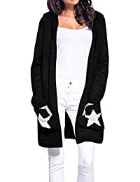 Jitong Cardigan Capuche Femme avec Poche, Étoile Manches Longues Maille  Pull Long Outwear 75e659224cd9