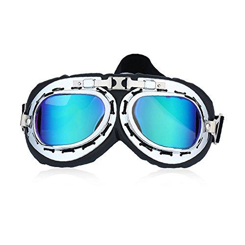 Yeshi vintage UV coupe-vent pour moto scooter Lunettes de natation Sangle réglable casque Motocross Lunettes Eyewear pour moto, ski, snowboard, scooter, Sports de plein air, Motorcycle Goggles