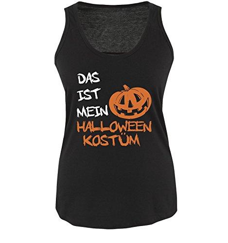 Comedy Shirts - DAS IST MEIN HALLOWEEN KOSTÜM KÜRBIS - Damen Tank Top Schwarz / Weiss-Orange Gr. XL