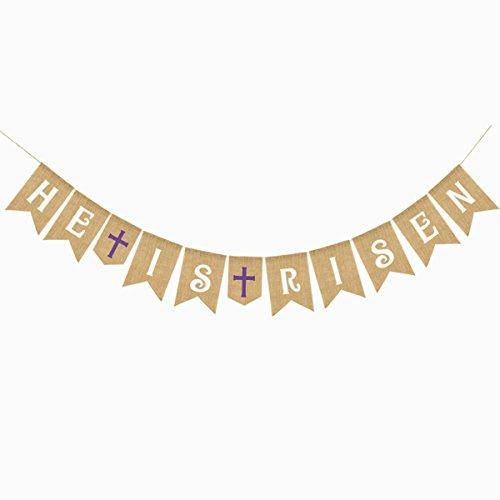 Luoem decorazioni per striscioni di pasqua he is risen e cross printed banner banner bunting garland photo props
