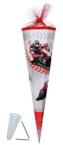 Unbekannt Schultüte - Motorrad Sport 22 cm - mit / ohne Kunststoff Spitze - Tüllabschluß - Zuckertüte Nestler - für Jungen Motorräder Biker Rennfahrzeug Bike Moped Fahr..