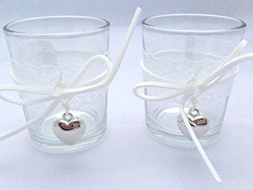 Treasured Memory 6X Teelichtglas Kerzenglas Votivkerzen Teelichthalter Kerzenhalter Spitze Glas Kommunion Konfirmation Taufe Tischdeko Hochzeit Sommer Strand Garten Terrasse