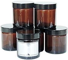 Viva-Haushaltswaren-Pequeñas de cristal (10Tiegel 60ml/pomada Tiegel/Crema Tiegel de marrón cristal, incluye etiquetas