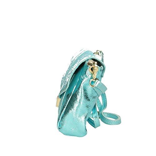 Chicca Borse Clutch Borsetta A Spalla In Vera Pelle Made Italy - 23x17x6 Cm Turchese