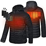 CONQUECO Men's Heated Jacket Light Weight Down Jacket For Waterproof And Windproof With