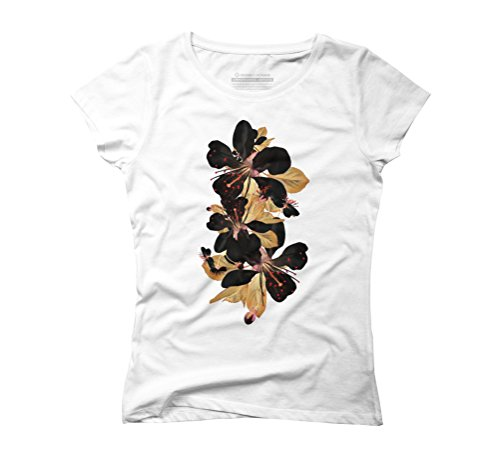 Flowers Gold Women's Graphic T-Shirt - Design By Humans White