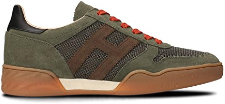 Hogan Herren HXM3570AC40IPK931L Grün Leder Sneakers