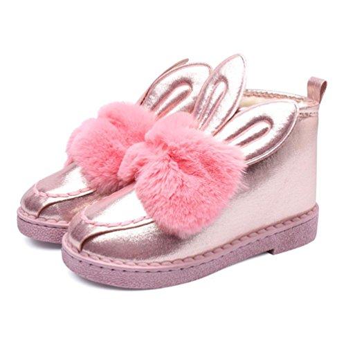 Bottes et boots,Transer® Mère et enfant famille bottes de neige plat cheville mignonne oreilles de lapin fourrure doublé hiver chaud chaussures Rose(Mère)