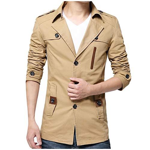 LIMITA Herrenjacke Herbst Winter lässige Mode Reine Farbe Jacke Revers Plus Velet Windbreaker Knopf Outwear Manteloberteile Übergröße Feste Farben für Business Freizeit mit Revers