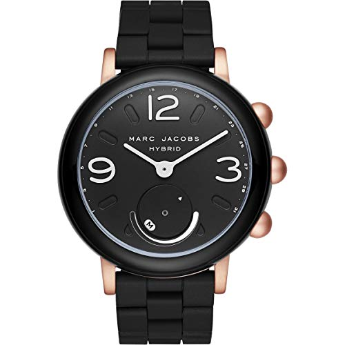 Marc Jacobs Women's Riley Aluminum and Silicone Hybrid Smartwatch, Color: Rose Gold-Tone, Black MJT1006