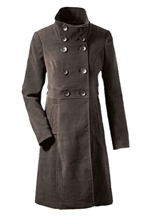 Elegant viscose coat with double button placket Brown 36 (413)