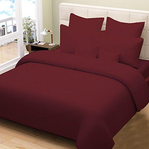500TC 100% ägyptische Baumwolle 3Stück Bettwäsche Set Set + 1Spannbetttuch, Burgund Rot Farbe Massiv Muster Queen size-12Zoll Tiefe Tasche (Sunshine Baumwolle) (Queen-matratze-tasche)