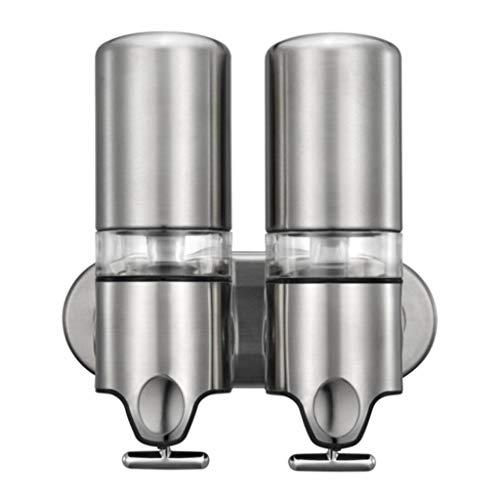Distributore di Sapone, 500ml Distributore di Sapone A Parete Acciaio Inossidabile Adatto per Bagni, Cucine Double Stainless Steel