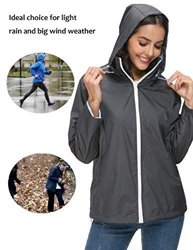 ZHENWEI Regenjacke Damen Atmungsaktive Golf Regenmantel Outdoorjacke Windbreaker Outdoor Kapuzenjacke Grau - 5