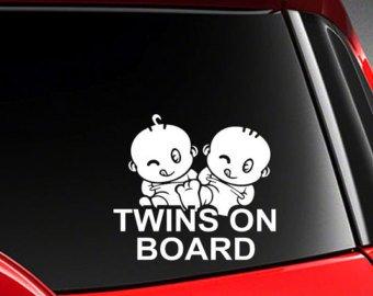 myrockshirt® Aufkleber Twins on Board Zwillinge Typ4 17 cm Autoaufkleber Auto Sticker Lack Heckscheibe Baby Bord aus Hochleistungsfolie ohne Hintergrund Profi-Qualität viele Farben zur Auswahl MADE IN GERMANY