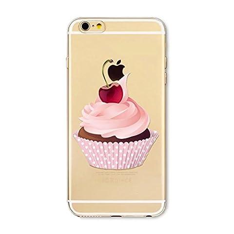 MUTOUREN coque Série Donut pour Apple iPhone 7 Ultra Slim TPU Case Housse Silicone Extrême Souple Etui Gel Fine Couverture Arrière Anti Poussières Couvercle Anti Dessin Délicieux desserts et de la nourriture-gâteau et Cerise rouge