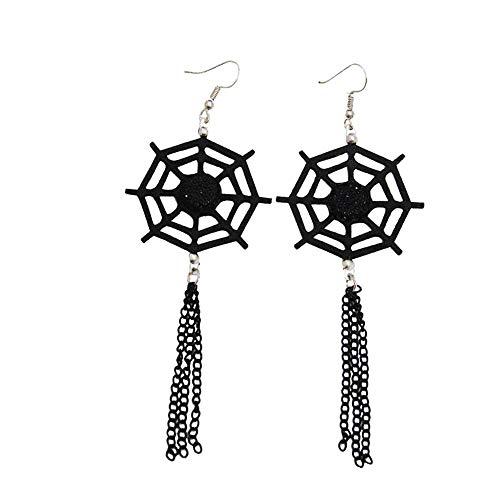 Da.Wa Ohrringe Ohrstecker Damen Halloween Spinnennetz Anhänger Earrings Schmuck Zubehör