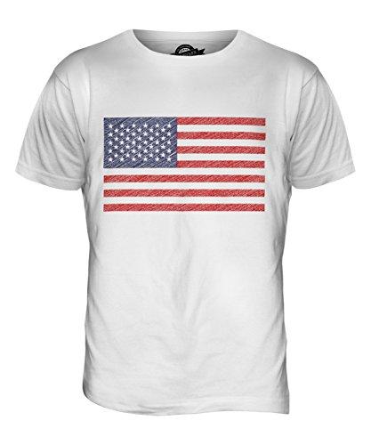 CandyMix Vereinigte Staaten Usa Sternenbanner Kritzelte Flagge Herren T Shirt Weiß