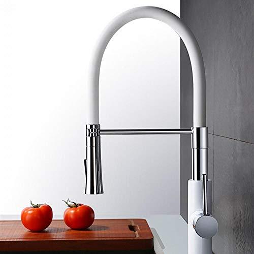 Sfqhc Mischbatterie Für Küche Wasserhahn Für Küche Einhebelmischer Mit Ausziehbarer Großer Weißer Einziehbarer Zug -