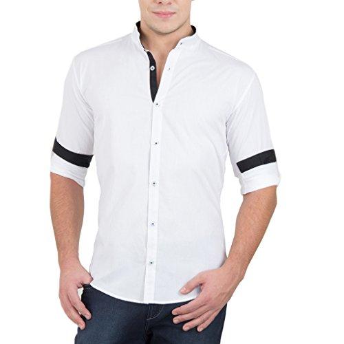 Ghpc Men's Cotton Stand Collar Casual Shirt(Cs62312_White_40)