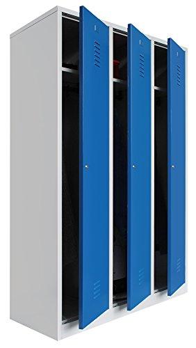 Montiert Doppelstöckige Spinde (Spind 3 Abteile 180 x 88,5 x 50 grau / blau - KOMPLETT MONTIERT)
