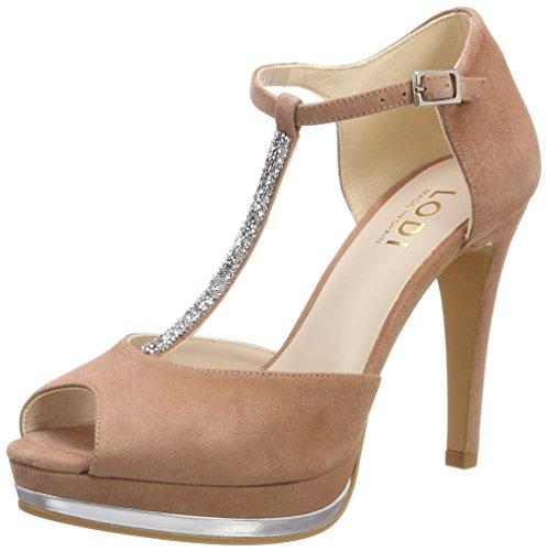 lodi Pauli, Zapatos con Tacon y Tira Vertical para Mujer, Rosa (Ante Rubor...