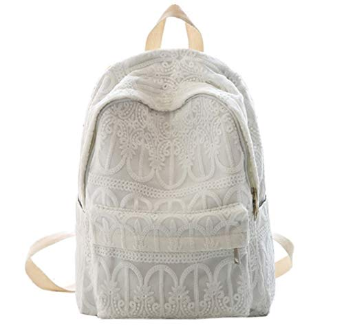 Sweet Segeltuch Embroidery Lace Backpack Women Segeltuch Daily Backpack Einfacher Stil Fresh Style College Students School Bags Rucksack, ()