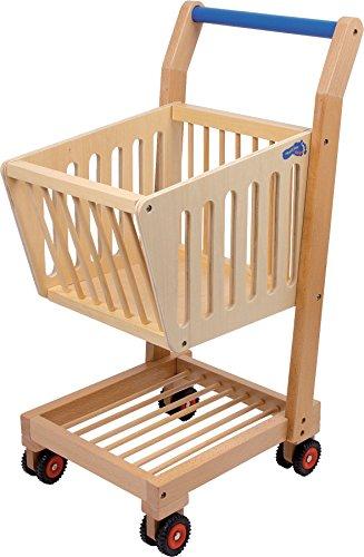 small foot 2499 Einkaufswagen Natur aus Holz, Zubehör zum Kaufmannsladen, mit stabilen Rollen, ab 3 Jahre Spielzeug