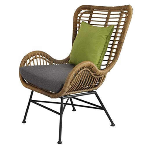 41bpywER7LL. SS500  - JYKJ Outdoor Willow Leisure Chair, Balcony Rattan Chair Single Chair Lazy Leisure Sofa Reclining Rattan Outdoor Club Rattan Chair Terrace Table And Chairs With Cushions (Color : A)