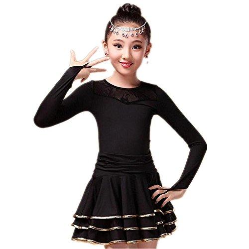 Wgwioo Langarm Kinder Latein Tanzen Kleid . Black . (2 Mädchen Kostüme Stück School)